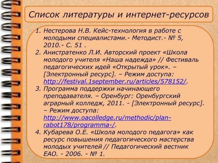 Список литературы и
