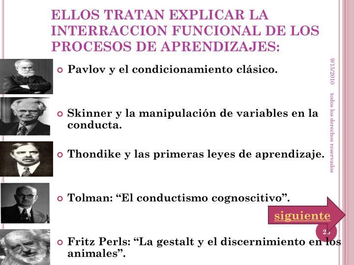 ELLOS TRATAN EXPLICAR LA INTERRACCION FUNCIONAL DE LOS PROCESOS DE APRENDIZAJES: