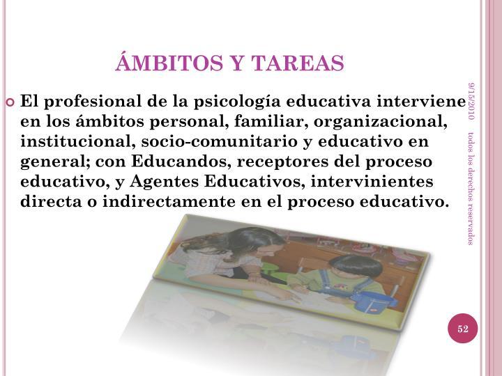 ÁMBITOS Y TAREAS