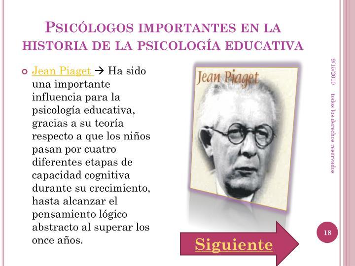 Psicólogos importantes en la historia de la psicología educativa