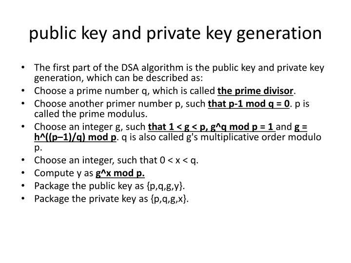 public key and private key generation