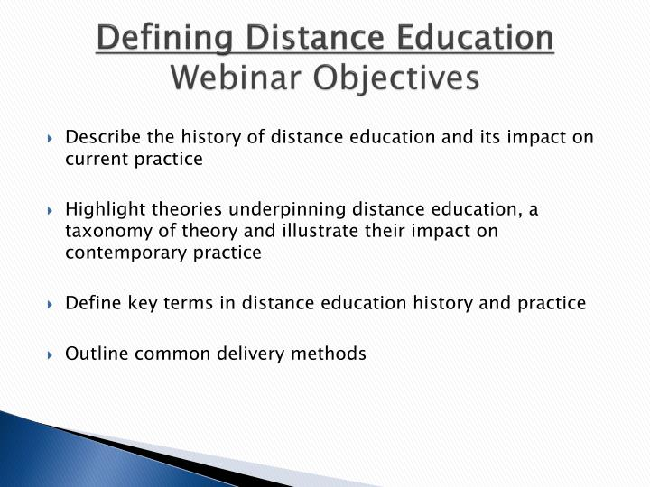 Defining Distance Education