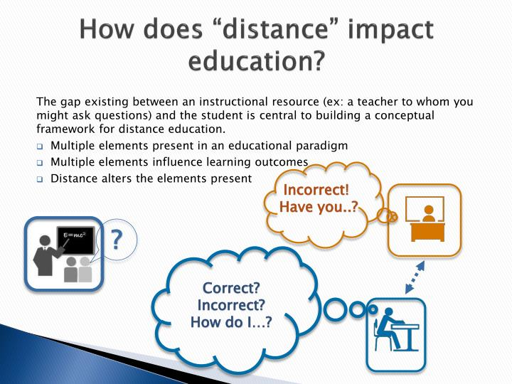 "How does ""distance"" impact education?"