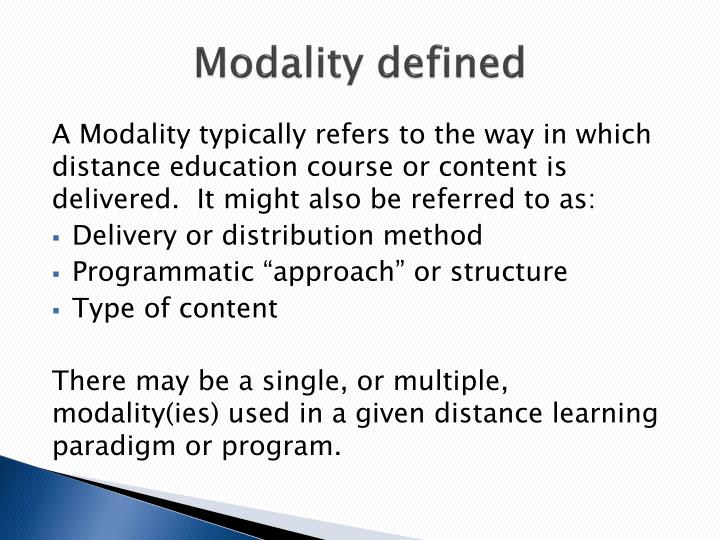 Modality defined