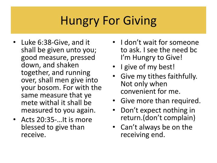 Hungry For Giving