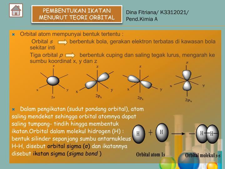 Orbital atom mempunyai bentuk tertentu :