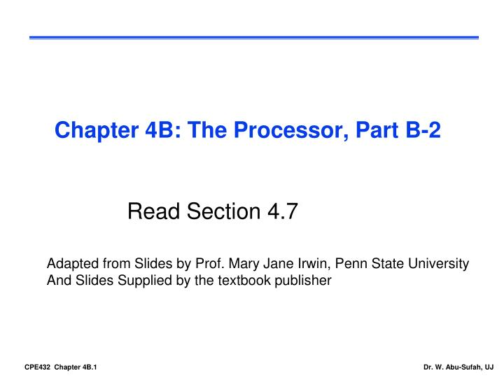 Chapter 4B: The Processor, Part B-2