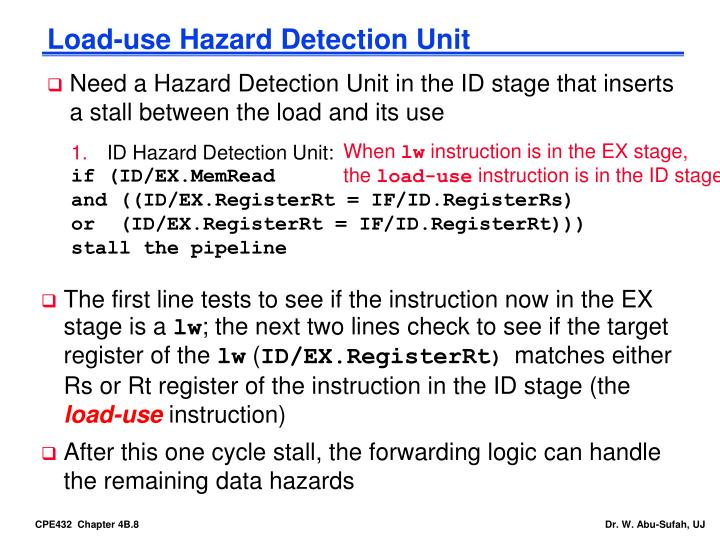 Load-use Hazard Detection Unit