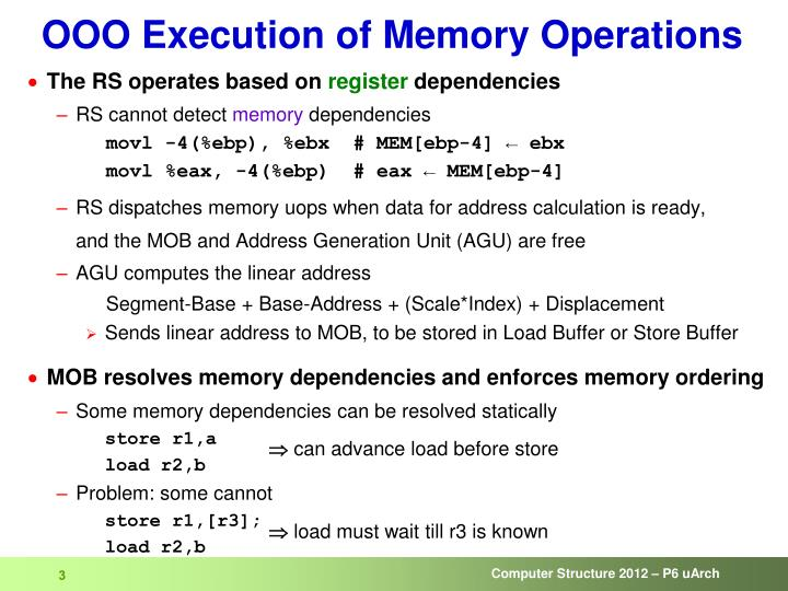 Ooo execution of memory operations1