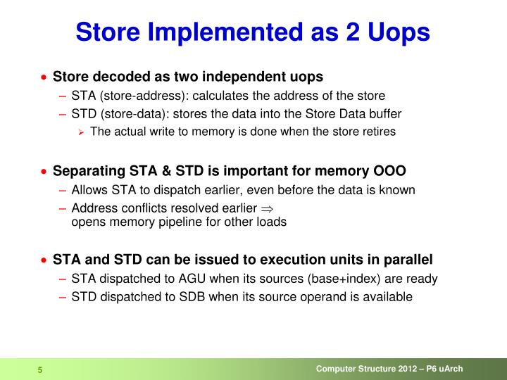 Store Implemented as 2 Uops