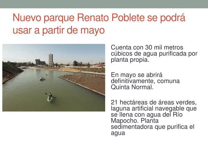 Nuevo parque Renato Poblete se podrá usar a partir de mayo