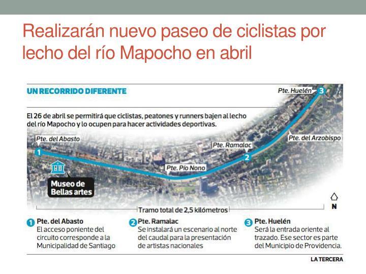 Realizarán nuevo paseo de ciclistas por lecho del río Mapocho en abril