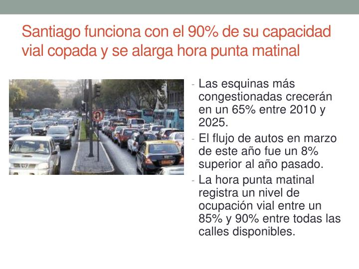 Santiago funciona con el 90% de su capacidad vial copada y se alarga hora punta matinal