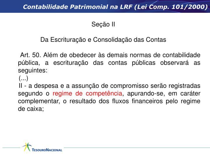 Contabilidade Patrimonial na LRF (Lei Comp. 101/2000)