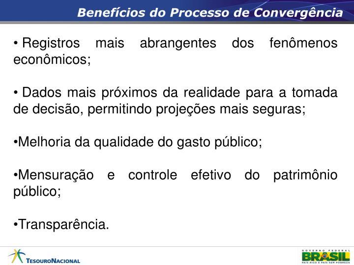 Benefícios do Processo de Convergência