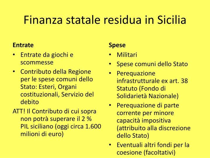 Finanza statale residua in Sicilia