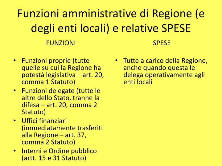 Funzioni amministrative di Regione (e degli enti locali) e relative SPESE