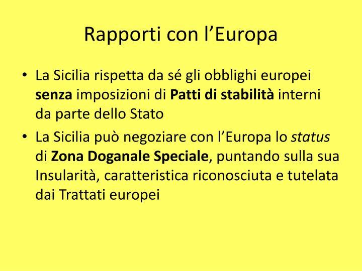 Rapporti con l'Europa
