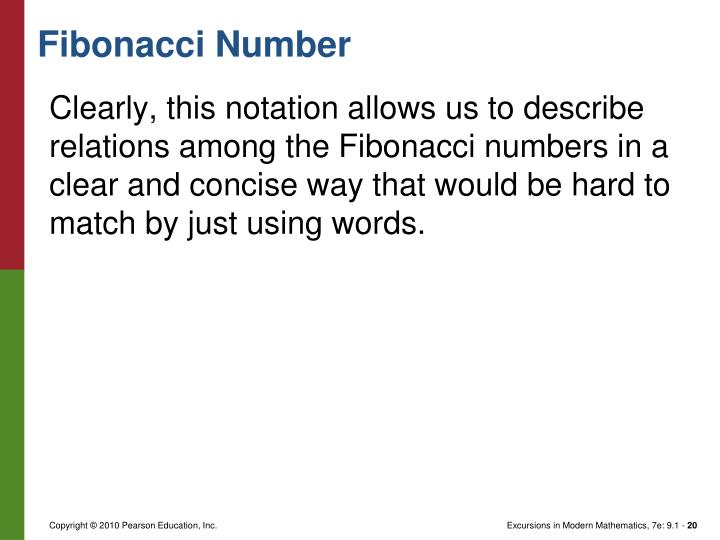 Clearly, this notation allows us to describe relations among the Fibonacci numbers