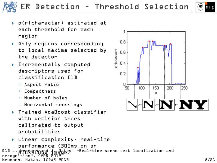 ER Detection – Threshold Selection