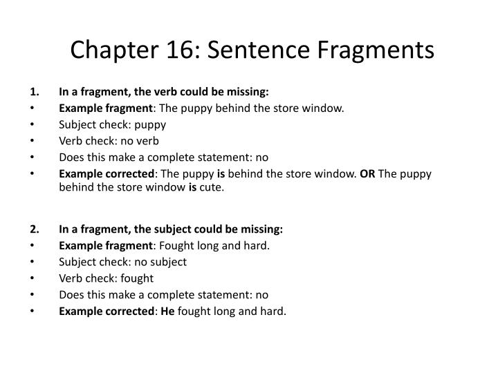 Chapter 16 sentence fragments