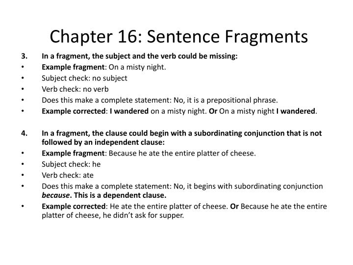 Chapter 16 sentence fragments1
