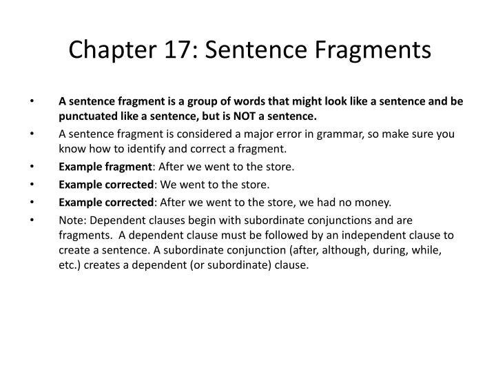 Chapter 17 sentence fragments