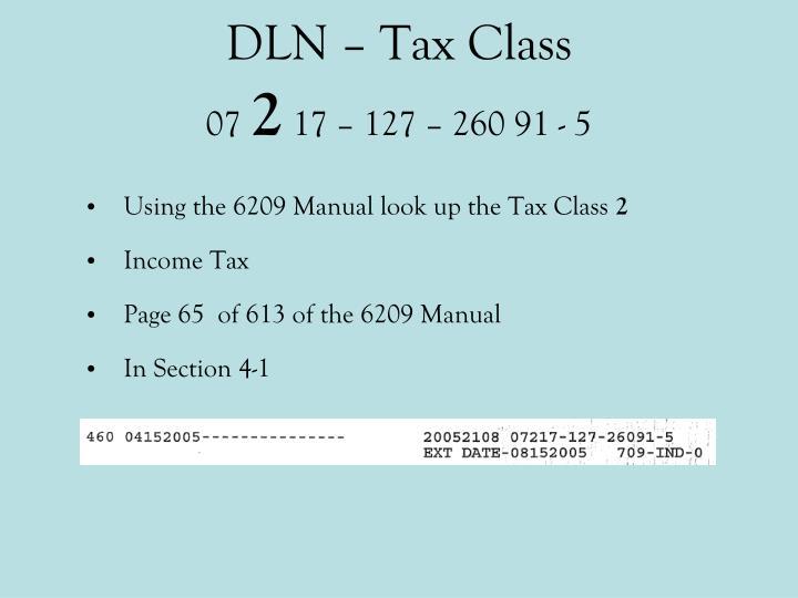 DLN – Tax Class