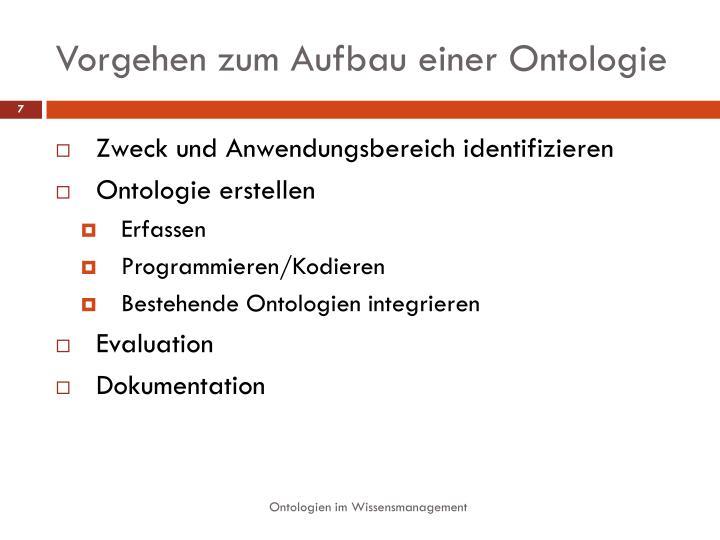 Vorgehen zum Aufbau einer Ontologie