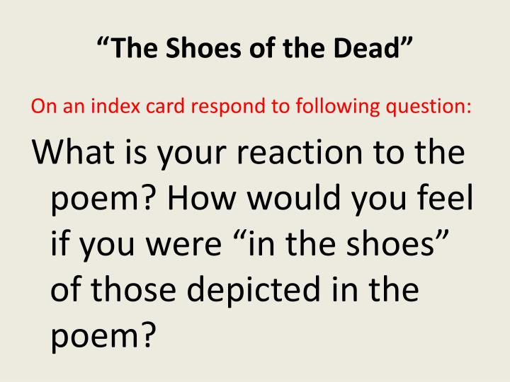 """The Shoes of the Dead"""