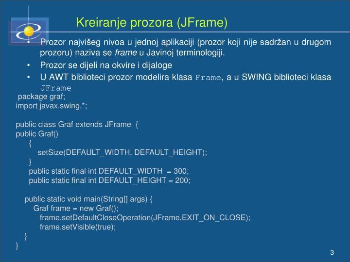 Kreiranje prozora (JFrame)