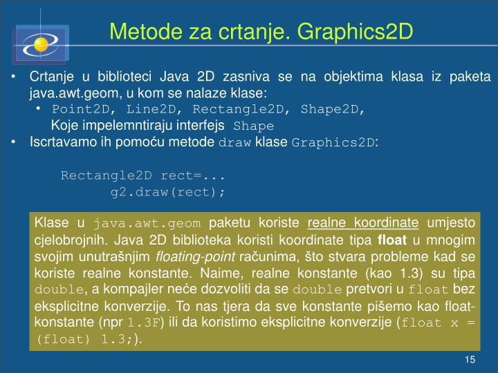 Metode za crtanje. Graphics2D