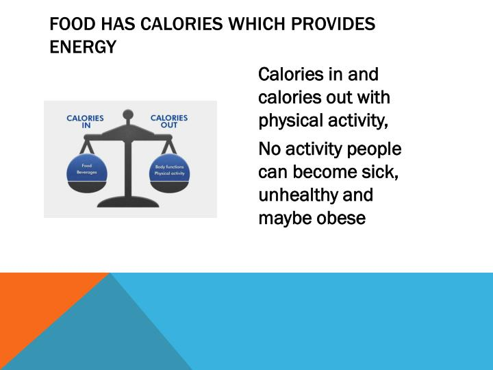 Food has calories which provides energy
