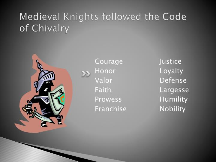 Medieval knights followed the code of chivalry
