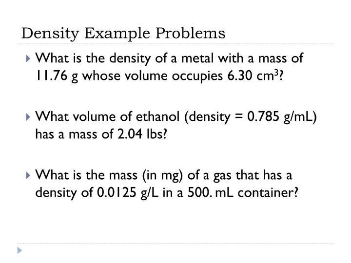 Density Example Problems