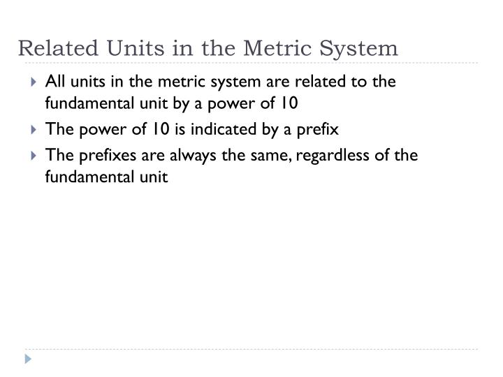 Related Units in the Metric System