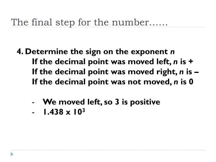 The final step for the number……