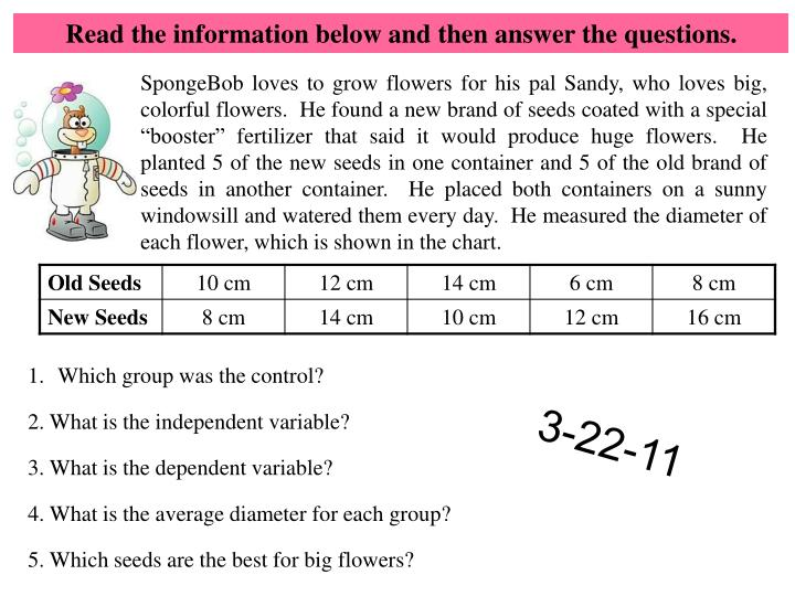 Read the information below and then answer the questions.