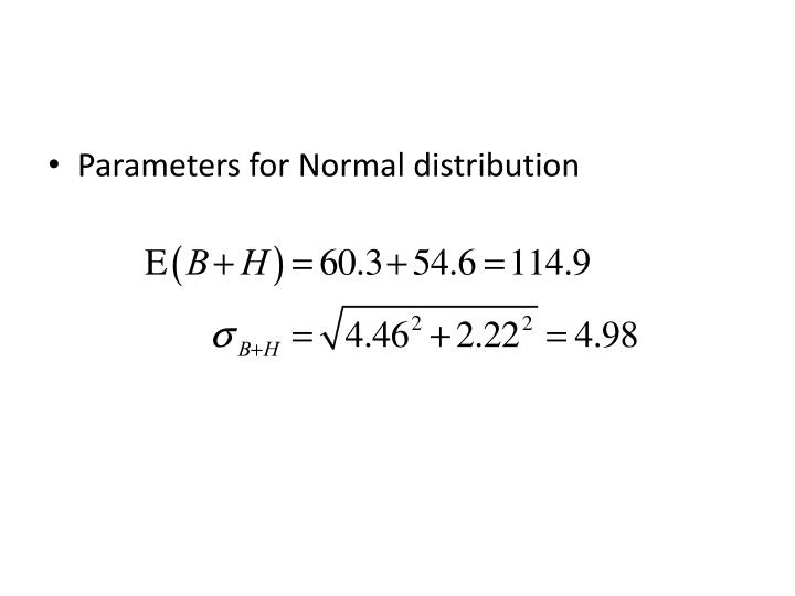 Parameters for Normal distribution