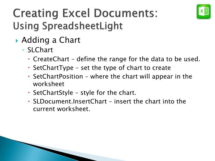 Creating Excel Documents: