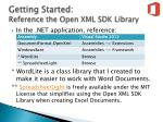 getting started reference the open xml sdk library