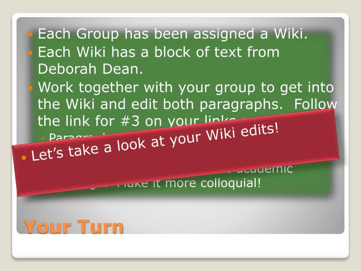 Each Group has been assigned a Wiki.