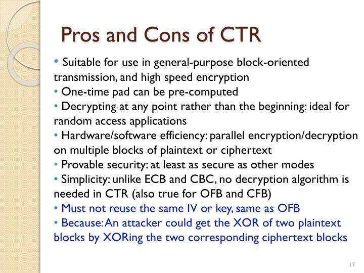 Pros and Cons of CTR
