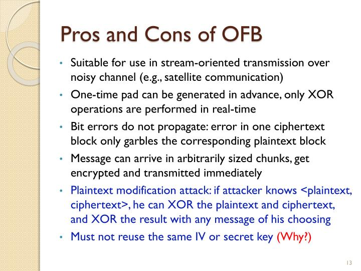 Pros and Cons of OFB