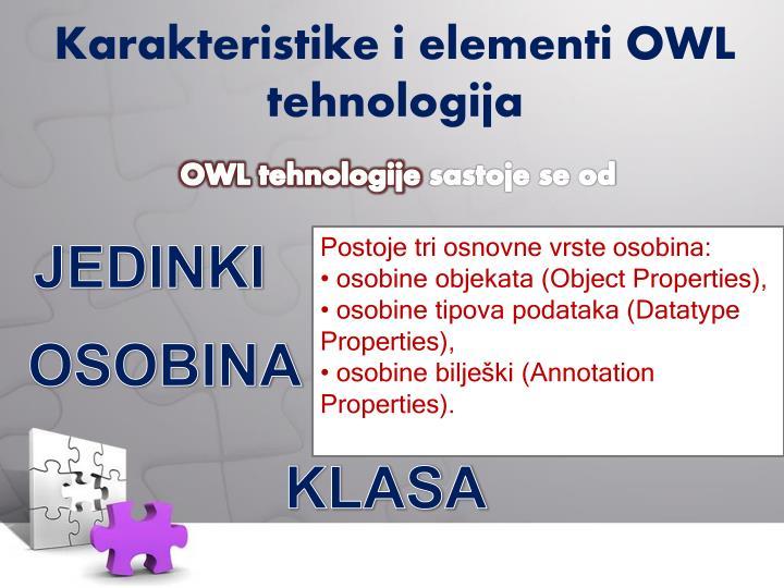 Karakteristike i elementi OWL tehnologija