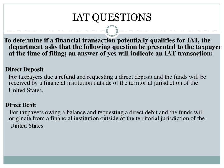 IAT QUESTIONS