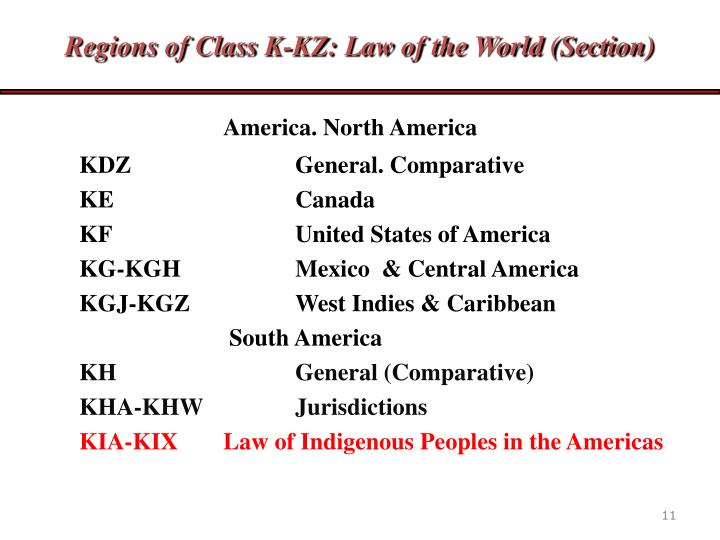 Regions of Class K-KZ: Law of the World (Section)