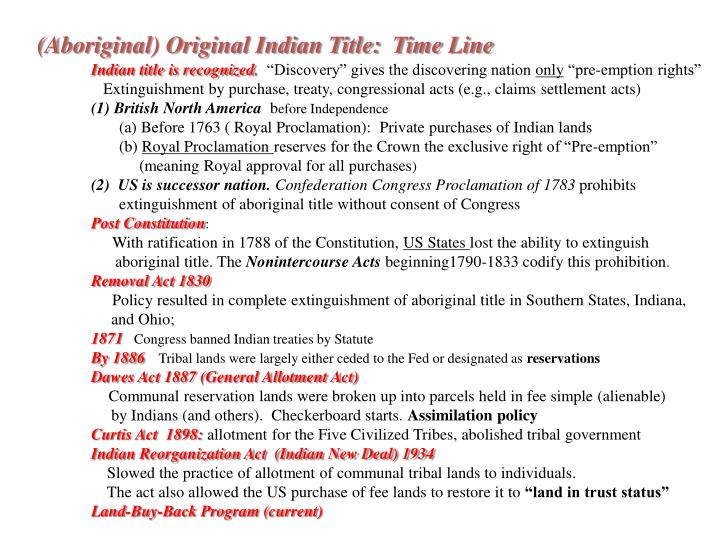 (Aboriginal) Original Indian Title:  Time Line