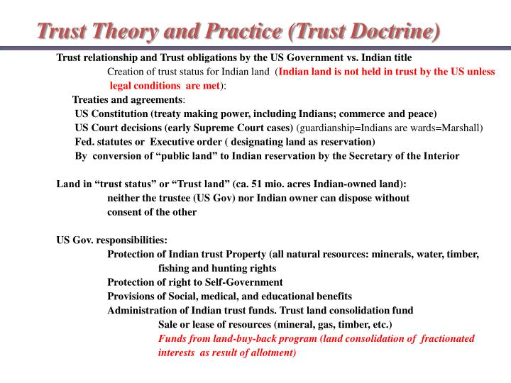 Trust Theory and Practice (Trust Doctrine)
