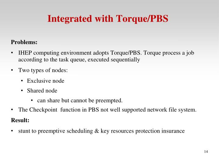 Integrated with Torque/PBS